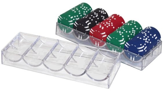 100pce Clear Acrylic Poker Chip Tray Rack