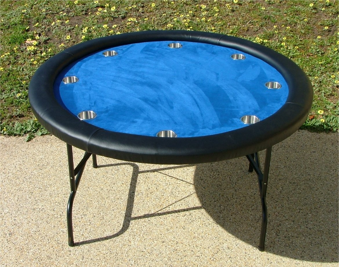 Premium 52 round blue poker table w stainless steel cups for 52 table view