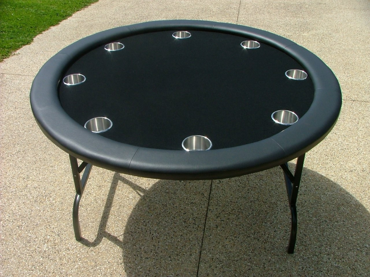 52 round black poker table w stainless steel cups for 52 table view