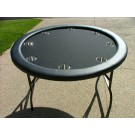 "Premium 52"" Round Black Suited Speed Cloth Poker Table w/ Stainless Steel Cups  - Min 20 Order"