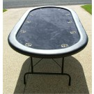 "Premium 84"" Oval Black Poker Table w/ Stainless Steel Cups"