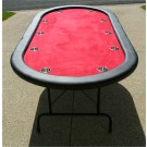 "Premium 84"" Oval Red Poker Table w/ Stainless Steel Cups"