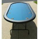 "Premium 84"" Oval Blue Suited Speed Cloth Poker Table w/ Stainless Steel Cups"
