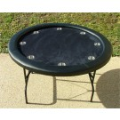 "Premium 52"" Round Black Poker Table w/ Stainless Steel Cups"
