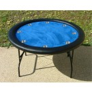 "Premium 52"" Round Blue Poker Table w/ Stainless Steel Cups"