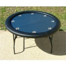 "Premium 52"" Round Blue Suited Speed Cloth Poker Table w/ Stainless Steel Cups"