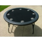 "52"" Round Black Poker Table w/ Stainless Steel Cups"
