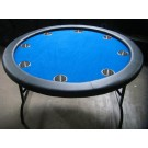 "52"" Round Blue Poker Table w/ Jumbo Stainless Steel Cups"