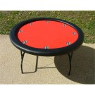"52"" Round Red Poker Table w/ Stainless Steel Cups"