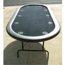 "84"" Oval Black Poker Table w/ Stainless Steel Cups"