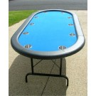 "84"" Oval Blue Poker Table w/ Jumbo Stainless Steel Cups"