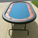 "Premium 84"" Oval Blue Suited Speed Cloth Poker Table w/ Racetrack & Jumbo Stainless Steel Cups"