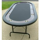 "Premium 84"" Oval Black Suited Speed Cloth Poker Table w/ Racetrack & Stainless Steel Cups"
