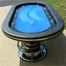 "No Limit 96"" Blue Casino Poker Table w/ Racetrack & Stainless Steel Cups"