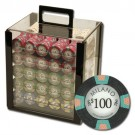 1000pce Milano 10g Clay Poker Chip Set in Acrylic Cube Case