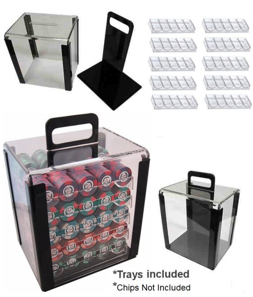 1000pce clear acrylic poker chip cube carrier case